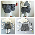 Girls Shorts Autumn&Winter Wool Fleece Knit Pants For Baby Girls Pocket Ball Design Gray Shorts Bermudas roupas infantis menina