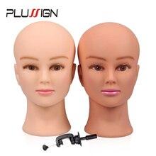 """Cabeza de maniquí femenino de goma y abrazadera para pelucas cabeza de maniquí calva de cosmetología profesional para hacer pelucas con soporte de 19 21"""""""