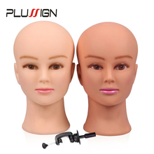 Rubber Female Mannequin Head and Clamp For Wigs Professional Cosmetology Bald Mannequin Head For Making Wigs With Stand 19 21""