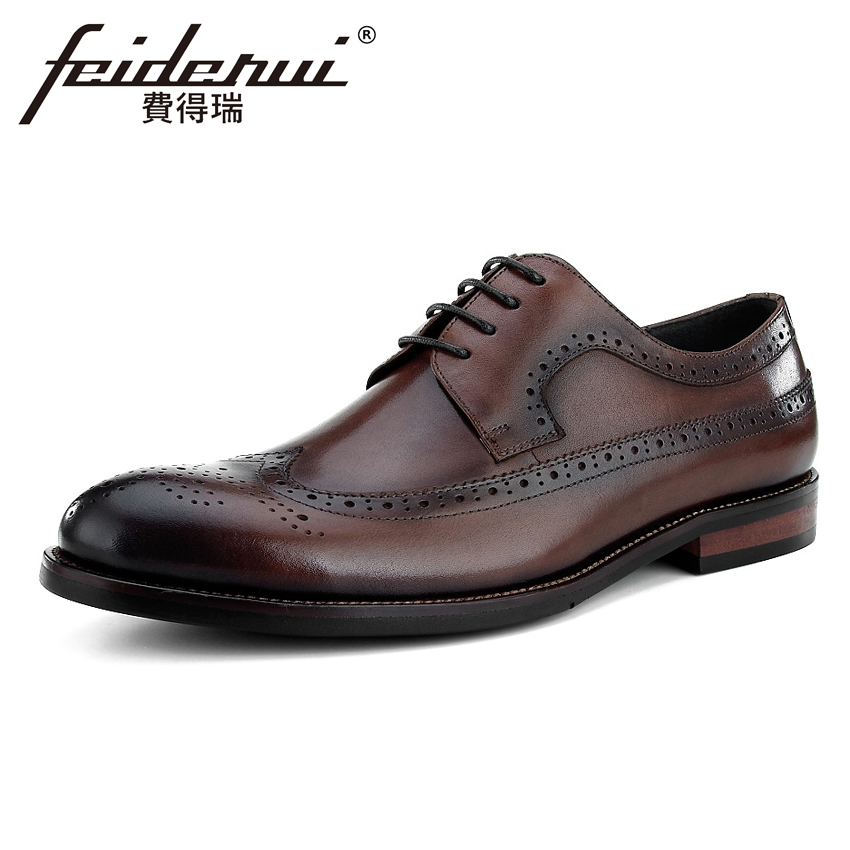 все цены на British Designer Genuine Leather Men's Handmade Oxfords Formal Dress Round Toe Man Wingtip Male Wedding Party Brogue Shoes BQL22 онлайн