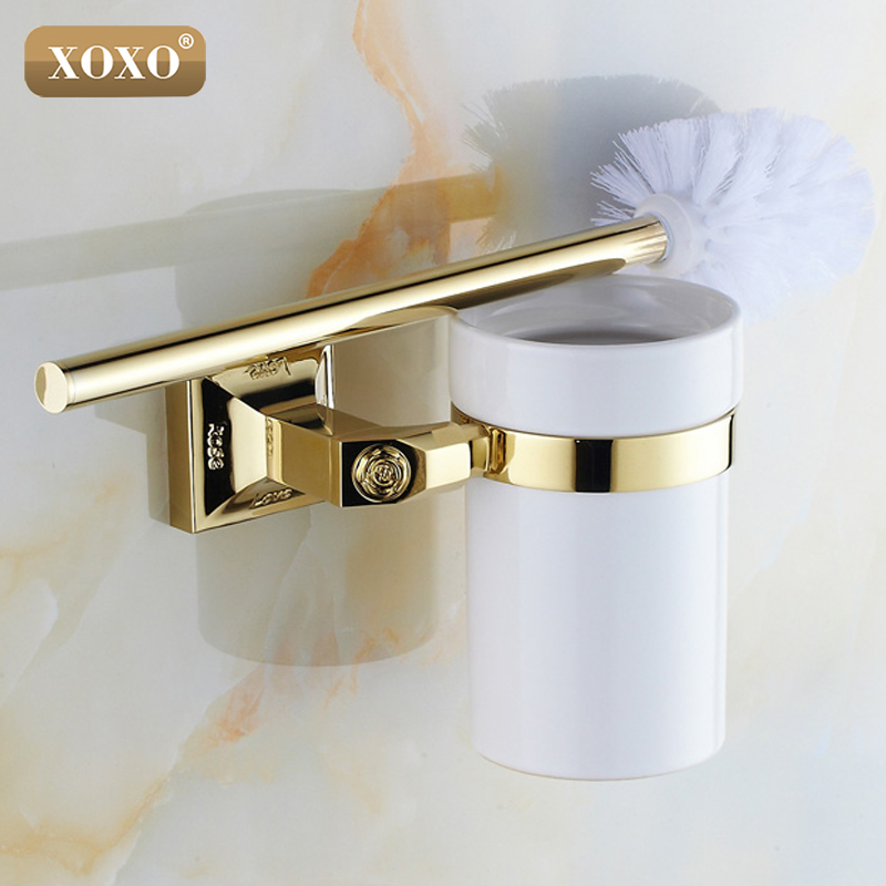 XOXONEW High-end Carving Wall Mounted Toilet Cleaning Brush Golden Brass Toilet Brush Holder 17081G brand new toilet brush for cleaning black color with stainless steel wall mounted brush holder chromed finish