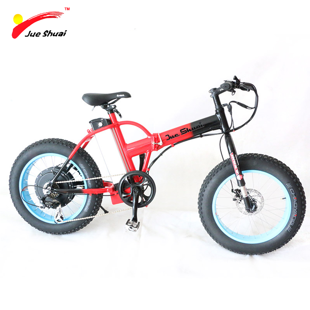 Js folding electric fat bike 1000w lithium battery red e for Bicycles with electric motors