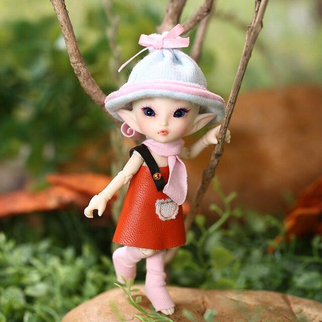 FreeShipping Fairyland FL Realpuki Roro Doll BJD 1/13 Pink Smile Elves Toys for Girl Tiny Resin Jointed Doll