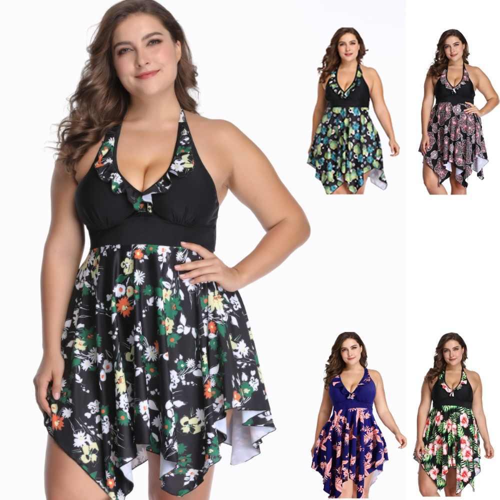 c2a781a165eb5 Summer Deep V Floral Women Swim Dress Big Size XL-6XL Female Beachwear Large  Swimwear