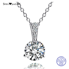 Shipei 100% 925 Sterling Silver Fine Jewelry White Gold 8mm Sapphire Round Pendant Necklace for Women Anniversary Gift