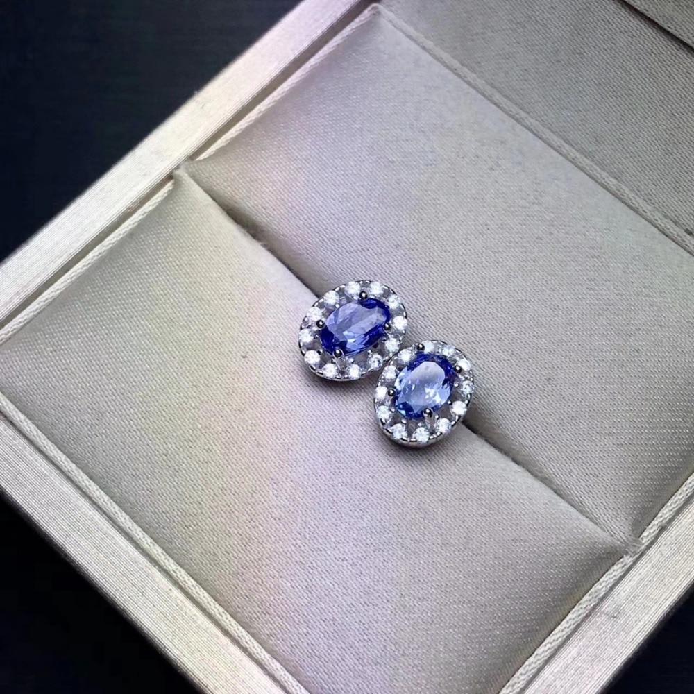 natural blue tanzanite gem Fashion elegant sun flower stud earrings Natural gemstone earrings S925 silver girl