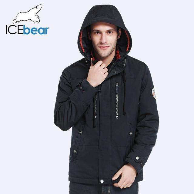 ICEbear 2017 Removable Hat Zipper Design Fashion  Autumn Spring Designer Trench Coat Men Jacket Comfortable Parka 17MC302