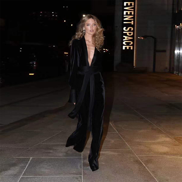 91f618d04e0 2018 Fashion Black Velvet Jumpsuit High Quality Women Sexy Deep V Neck Long  Sleeve Celebrity Party Jumpsuits Clubwear Wholesale