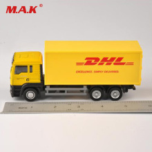1:64 Scale Model Car Car Diecast Truck Express DHL Truck Model Container Yellow Yellow Transporter Kids Lodra për fëmijë Koleksion Dhuratë