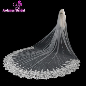 AOLANES Luxury 4 Meters Lace Edge One Layer Cathedral Wedding Veil Long Bridal Veils For Wedding Dress Velos De Novia 2018