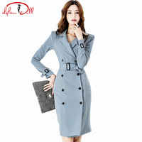 2017 Autumn New Sashes Official Coat Dress Women Slim Double Breasted Knee Length Bodycon Full Sleeve