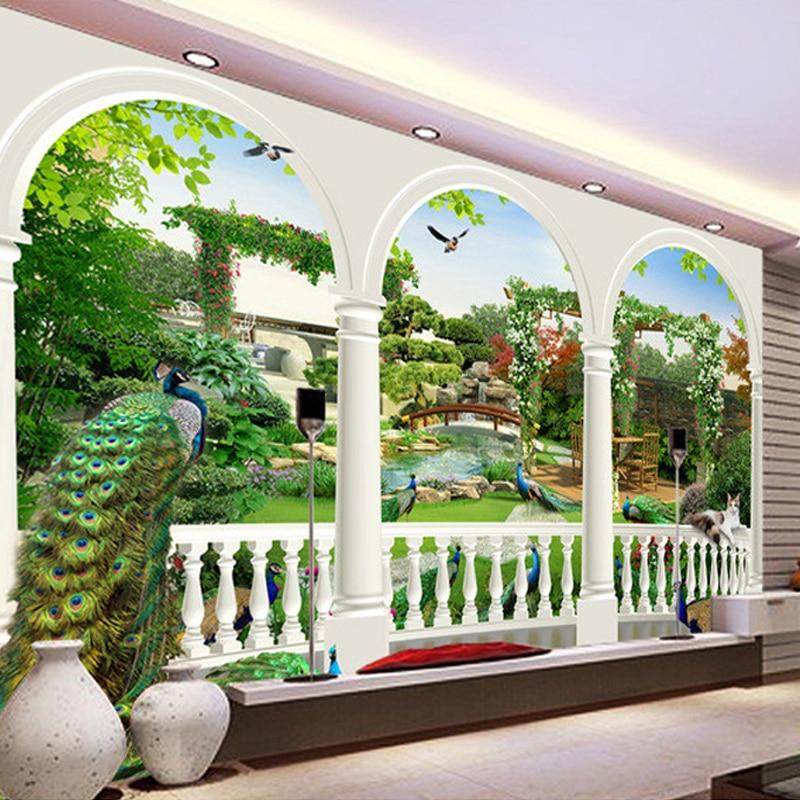 Custom Photo Wallpaper Large HD 3D Stereoscopic Dream Bird Peacock Palace Gardens Mural TV Living Room Sofa Background Wallpaper