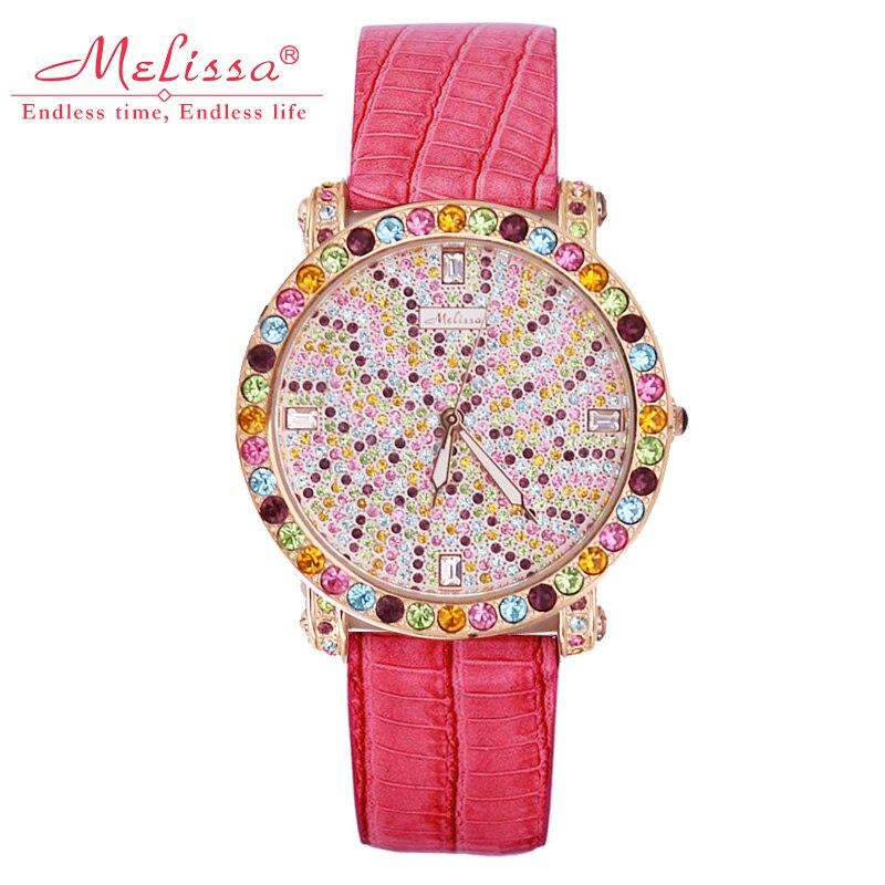 Полный Кристалл Melissa Lady Для женщин часы большой час кварца Япония Мода кожаный браслет Роскошные рождественское платье для девочек на день ...