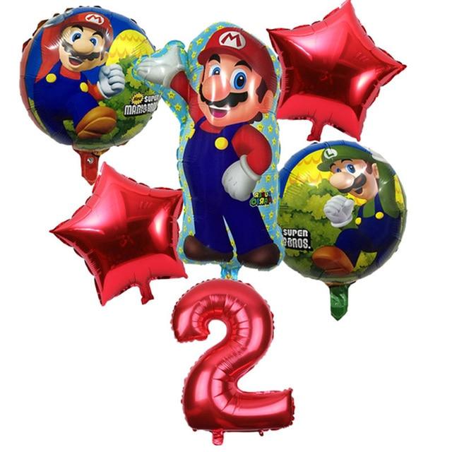 6 Unidslote Super Mario Bros Globos Cumpleaños Fiesta Luigi Mario