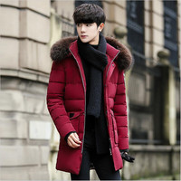 Men Winter Thick Coat 2019 New Style Smart Casual Solid Hooded Parka Big Pocket Fur Collar Warm Male Padded Jacket Plus Size 4XL