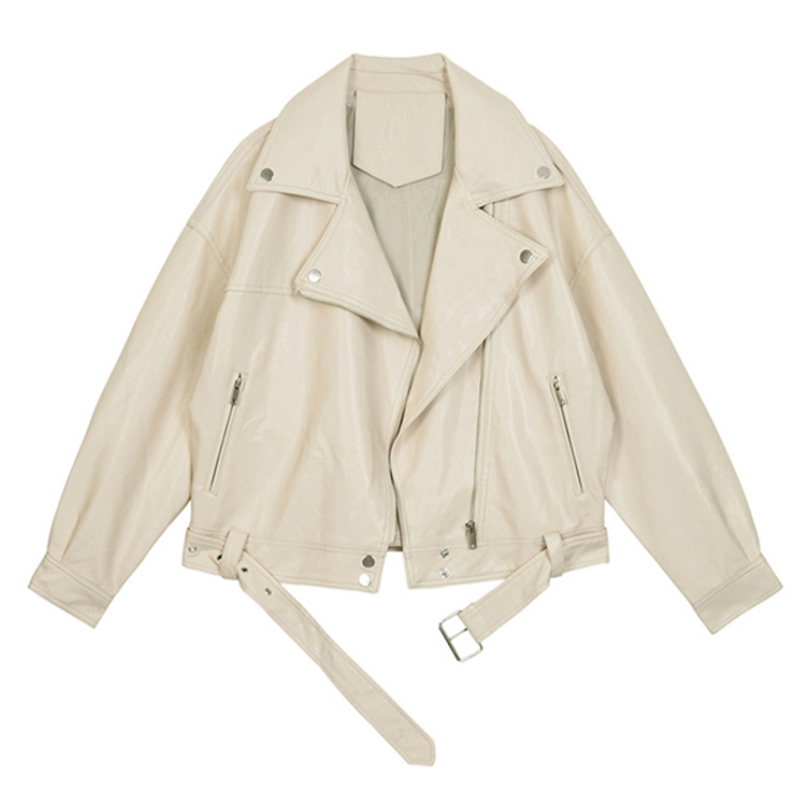 Women's Motorcyle Beige PU   Leather   Jacket Coat Autumn Lapel Zipper Belt BF Style Casual Faux   Leather   Jacket abrigo mujer