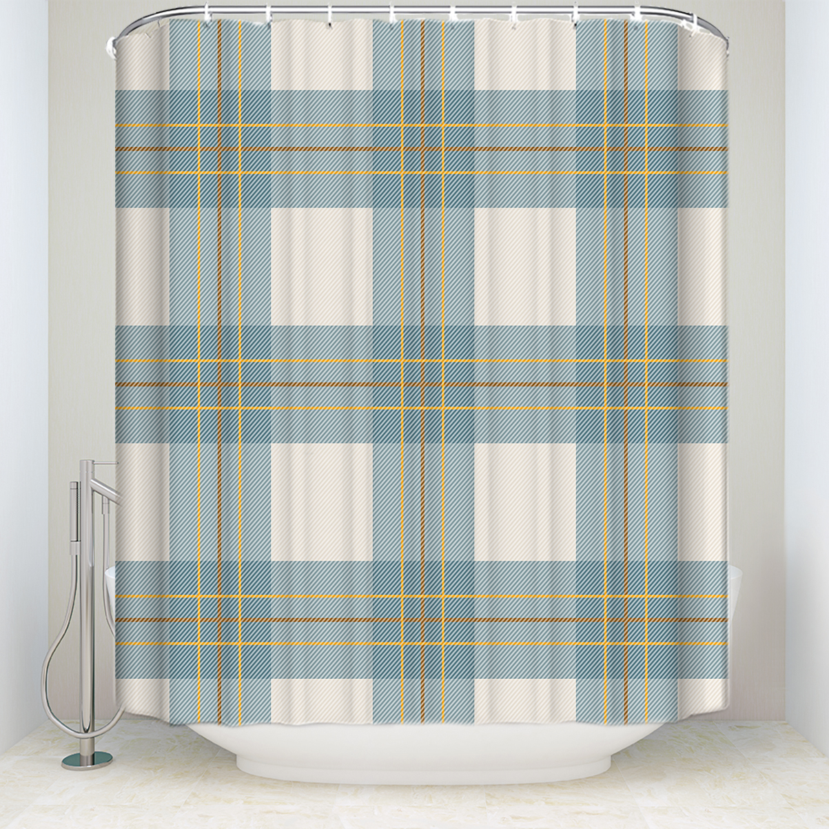Us 18 51 40 Off New Waterproof Scottish Plaid Shower Curtain With Hooks Polyester Fabric Retro Striped Bathroom Curtains For Home Decorations In