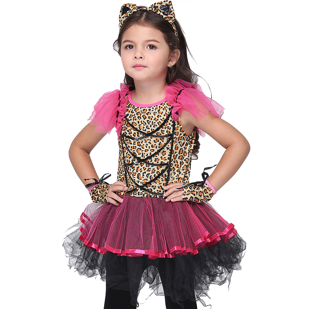 Leopard Wild Cat Girls Cosplay Dresses Set for Halloween Party Kids Cosplay Children Girls Performance Carnival Party Costume стоимость