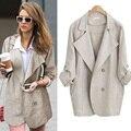 Осень Европейский жира ММ пиджак femme ветровка пиджак длинный двубортный пальто лацкан отдых плюс размер дамы блейзеры