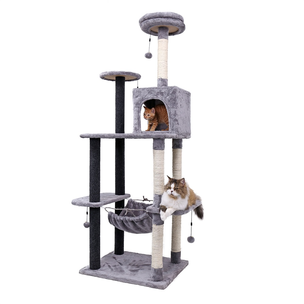 Pet Cats Tree 3 Kinds House With Hanging Balls Cats Condos Climb Frame Furniture Scratchers Post For Kitten Cat Playing Toys