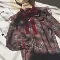 Sweet lolita princess flowers print chiffon petal sleeve bow kawaii shirt blouse lady