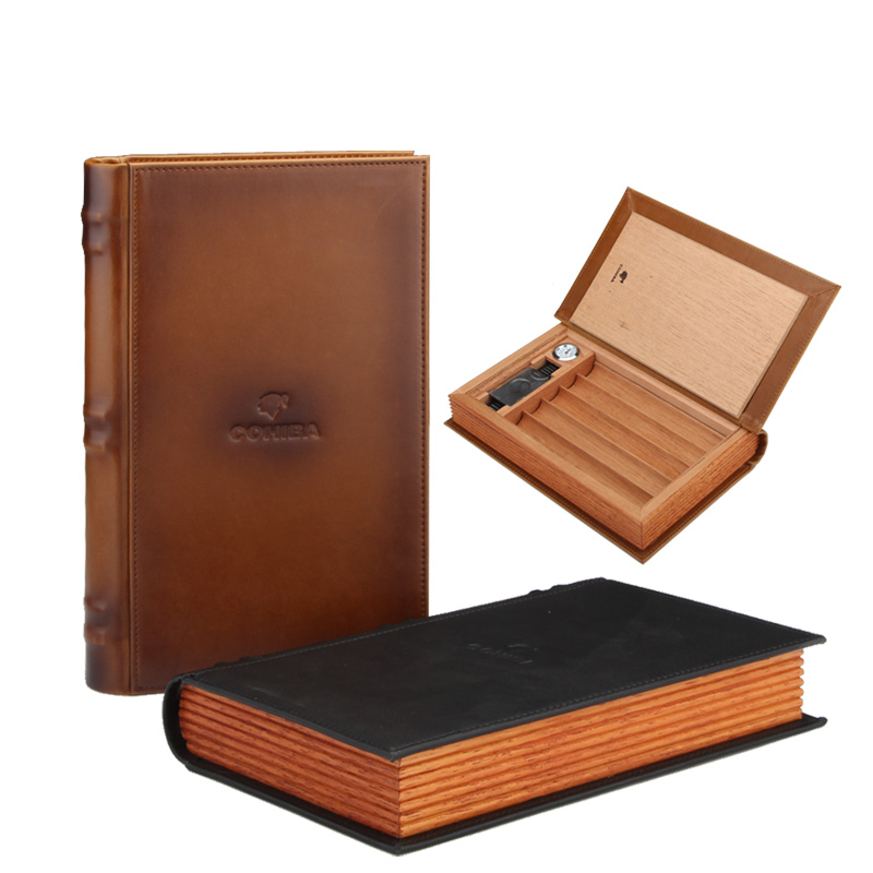 COHIBA Cigar Box Travel Cigar Case Humidor Spain Cedar Wood Leather Cigars Humidor With Cigar Cutter Humidifier Hygrometer