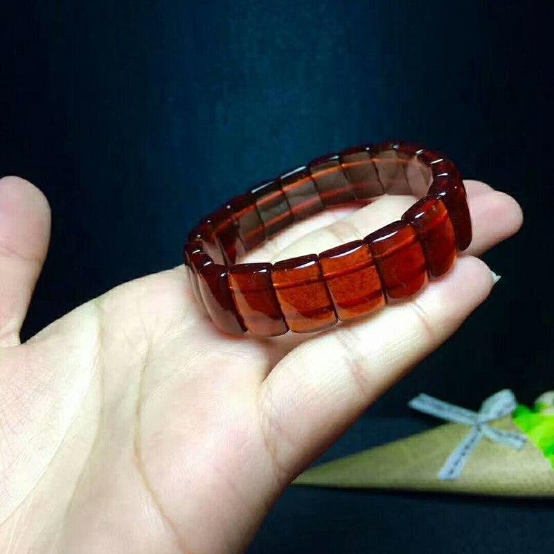 Оптовая оранжевый красный гранат природный камень Браслеты модные рука строка Красота Lucky для девочек подарок Для женщин камень Браслеты ювелирные изделия - 2