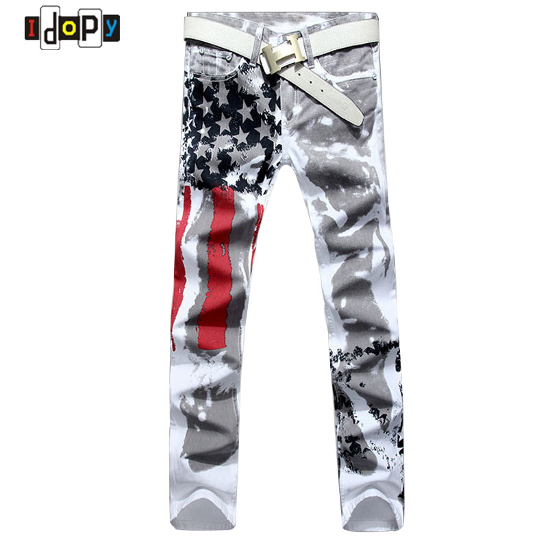 2016 New Fashion Mens American USA Flag Printed Jeans Straight Slim Fit Trousers Plus Size 38 40 42 Casual Jeans Pants For Men