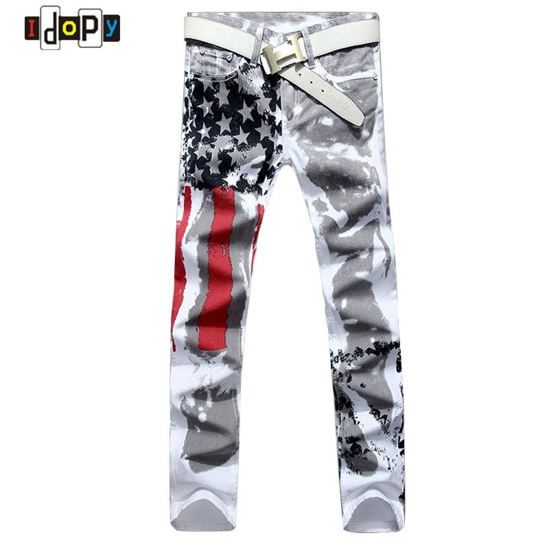 2016 New Fashion Mens American USA Flag Printed Jea