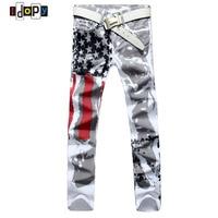 2018 Nieuwe Mode Heren Amerikaanse USA Vlag Gedrukt Jeans Rechte Slanke Fit Broek Plus Size 38 40 42 Casual Jeans Broek Voor mannen