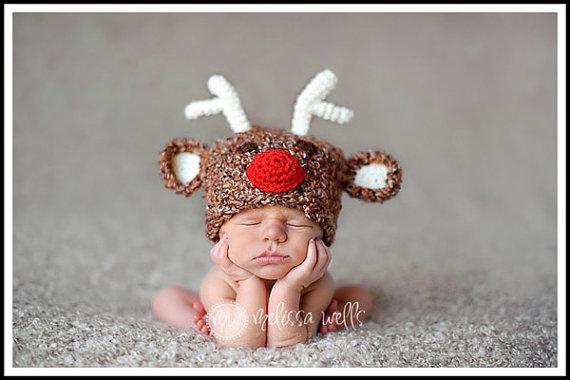 2036bdcc2 US $8.07 5% OFF 100% cotton NEWBORN hats, Crochet baby reindeer hat newborn  deer hat baby rudolph christmas hat newborn photo prop gift-in Hats & Caps  ...