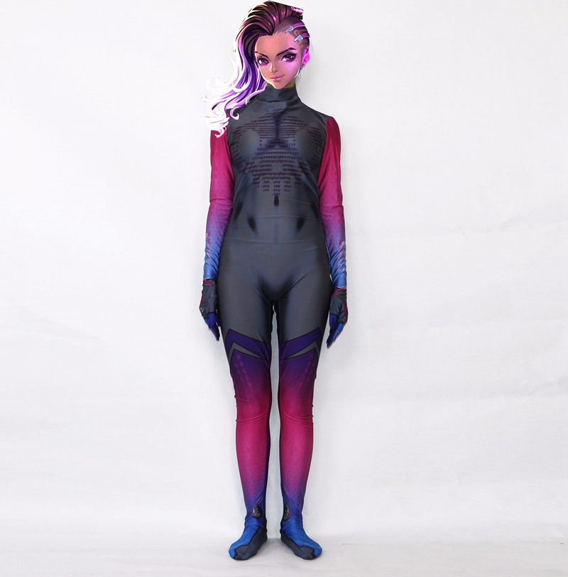 FOGIMOYA Cosplay Costume 3D Printed Lycra Spandex Overwatches dva Zentai Catsuit Holloween Jumpsuit For Kids Girls Women
