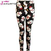 Jahurto One Size Women Christmas Legging Pants Christmas Tree Santa Claus Snowman Skull Print Stretch Skinny