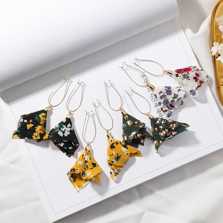 2018 new  fashion brand jewelry Cloth Flowers earrings Summer style  long earring for women gift