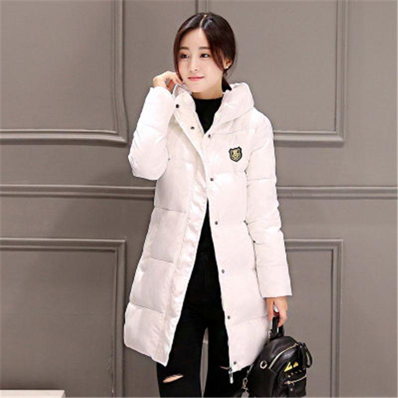 ФОТО 2016 New Korean Winter Women Coat Elegant Pure color Thick Warm Hooded Down Cotton Jacket High quality Large size Women Coat