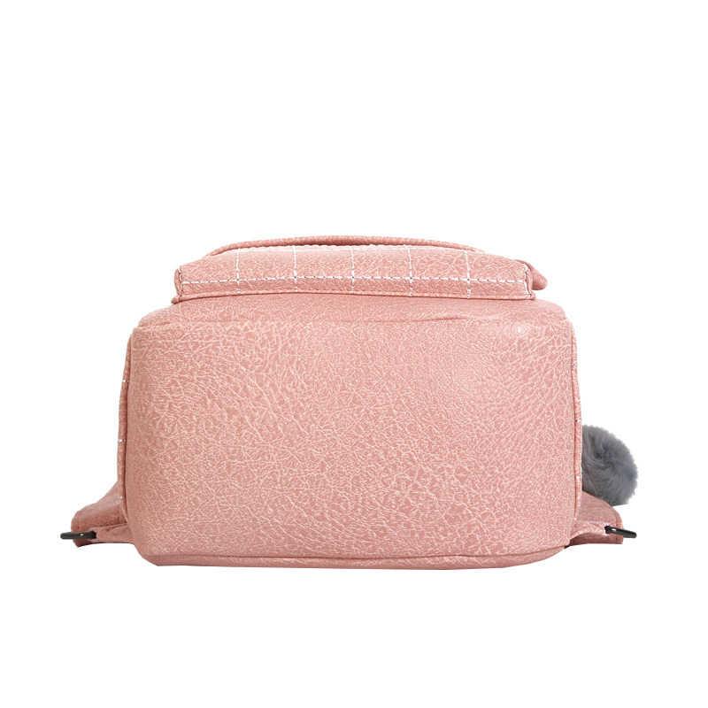 Frauen Rucksäcke Solide Mode Schule Tasche Für Teenager Mädchen Pelz Ball PU Leder Rucksack Reisetaschen Mochila Sac A Dos femme