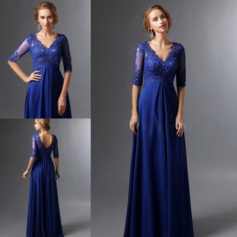 Plus Size Royal Blue 2018 Mother Of The Bride Dresses A-line V-neck Half Sleeves Chiffon Lace Long Elegant Groom Mother Dresses