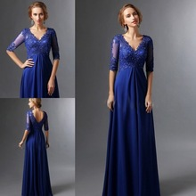 Dresses Lace Mother-Of-The-Bride-Dresses Chiffon Royal-Blue Groom Elegant Long Plus-Size