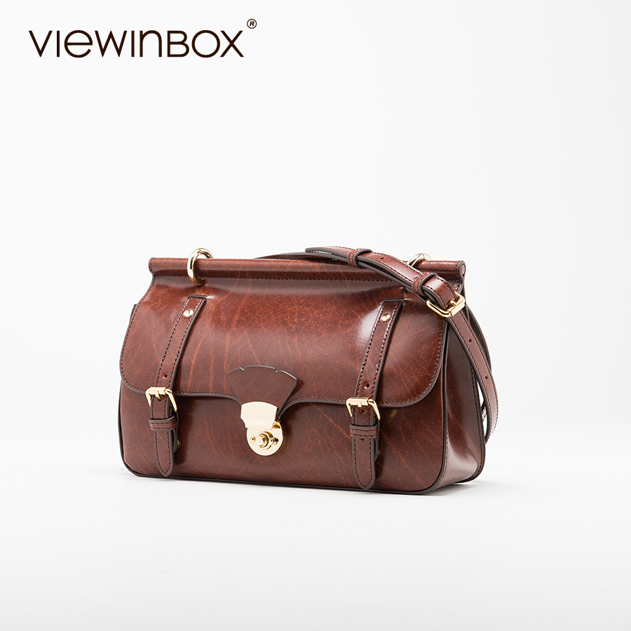 Viewinbox Vintage Postman Crossbody Shoulder Bag Brown Messenger Bags Split  Leather Shoulder Bag For Women