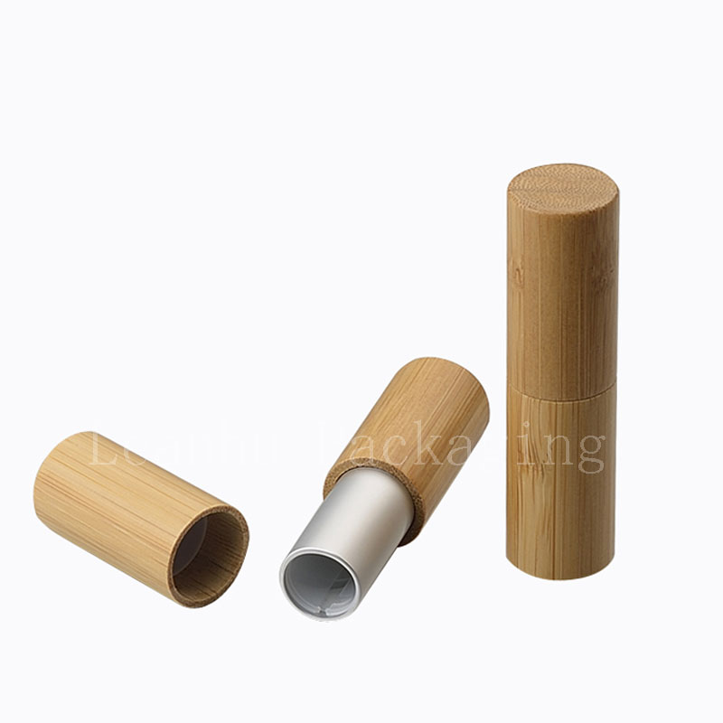 Natural bamboo design lip balm container lipstick tube DIY cosmetic containers lip gross tubes bamboo lip