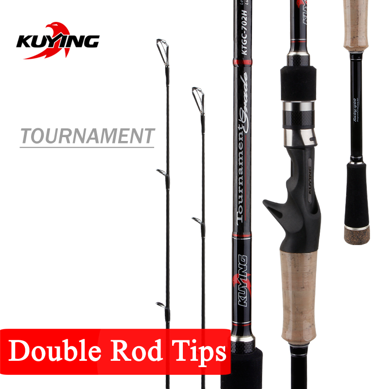 KUYING 2.1m Tournament Lure Fishing Rod Double Tips MH H Hard Casting Spinning Carbon Fiber Cane Pole Stick Medium Fast 7-28g
