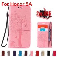 Новые Модные Симпатичные Делюкс Дерево лист цветок Cat бабочка PU кожа пена бумажник чехол для Huawei Honor 5A Honor5A красный, серый Роза