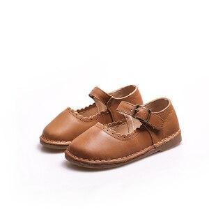 Image 5 - 2017 wiosna jesień dziewczyny Vintage skórzane buty wypoczynek dziecko Toddle buty miękkie dzieci skórzane buty dla dzieci pojedyncze buty