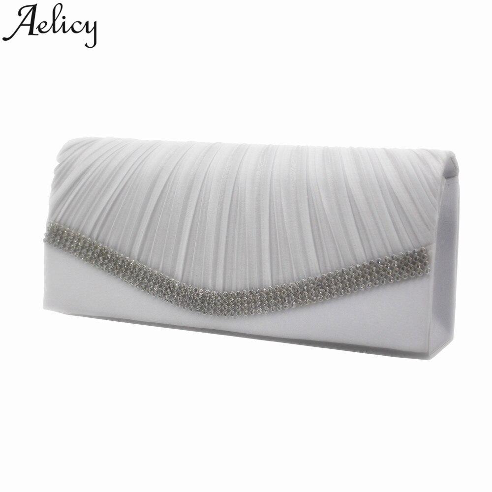 Aelicy 2019 Fashion Diagonal Pleated Crystal Tote Purses Satchels Ladies Evening Clutch Bags Wedding Party Luxury Handbag Women