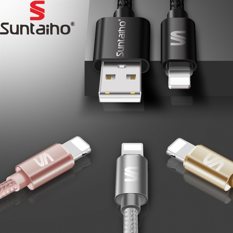 Suntaiho For iPhone 7 Cable Nylon 2.1A Fast Charging USB Cable For iPhone X 6 6S Plus 5 5S SE iPad Air 2 Mobile Phone Cables