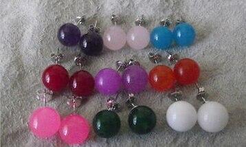 Bijoux de mariée livraison gratuite sellNew chaude 9 couleurs Belle 10 MM Ronde Jades et Boucles D'oreilles