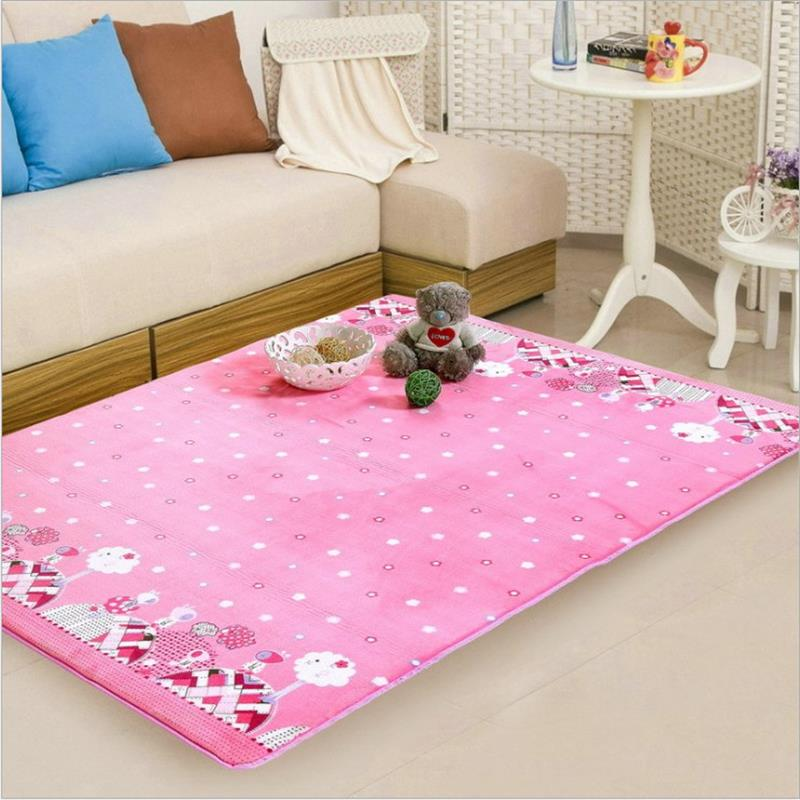 150x190cm pink princess carpets for living room kids for Rug in bedroom