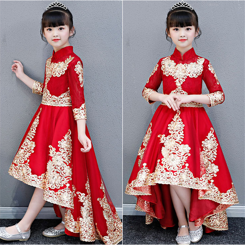 7a553f94a8ba9 High-Quality Children Girls Chinese Style Luxury Red Embroidery Lace ...