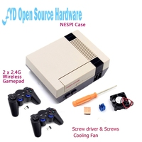 Mini NESPI Retroflag Case With Cooling Fan And 2 X 2 4G Wireless Gamepad For RetroPie