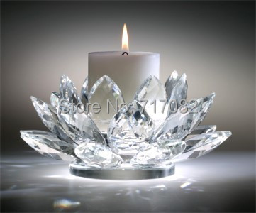 110mm 4 3inch top grade wedding and home decoration crystal lotus flower candle holder